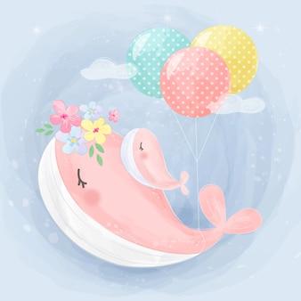 Ilustração de mamãe e bebê baleia