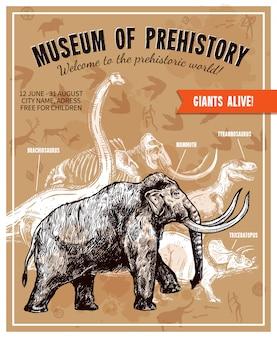 Ilustração de mamute sketch mão desenhada poster