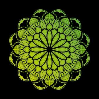 Ilustração de mandala arte decoração design. com um gradiente de verde claro e escuro muito natural.