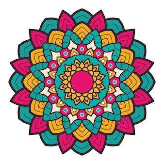 Ilustração de mandala colorida floral decorativa