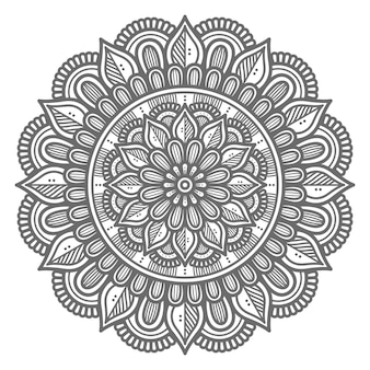 Ilustração de mandala de conceito abstrato e decorativo em estilo circular Vetor Premium