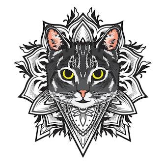 Ilustração de mandala de flor de gato legal