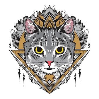 Ilustração de mandala de gato cinza legal