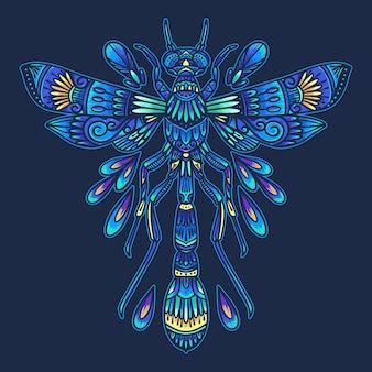 Ilustração de mandala de inseto libélula colorida