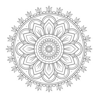 Ilustração de mandala de ornamento floral redondo para decoração