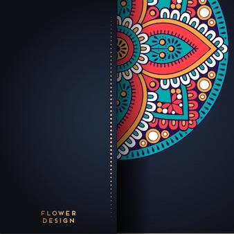Ilustração de mandala em desenho de flor