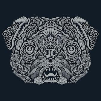 Ilustração de mandala étnica de cachorro pug