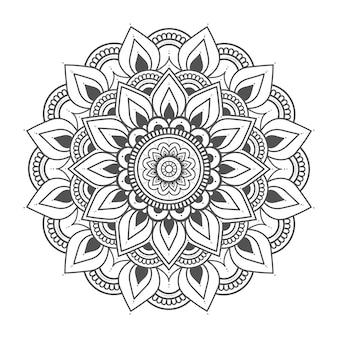 Ilustração de mandala floral circular para decoração