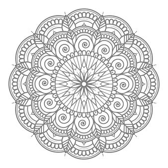 Ilustração de mandala floral de círculo redondo abstrato e decorativo