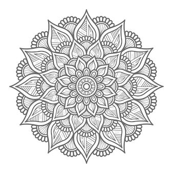 Ilustração de mandala floral de estilo de contorno