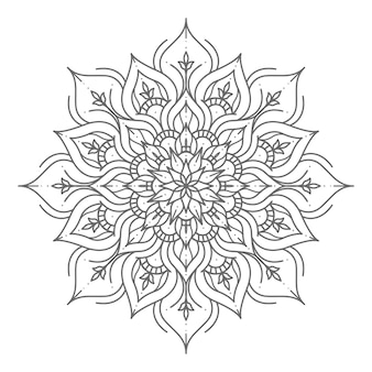 Ilustração de mandala luxuosa e tradicional em estilo de linha de arte