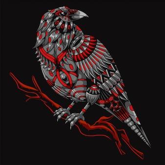 Ilustração de mandala zentangle corvo e design de camisetas premium
