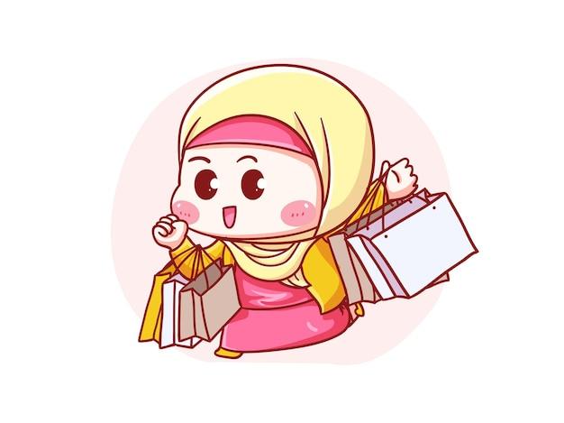 Ilustração de manga chibi linda e kawaii hijab segurando sacola de compras