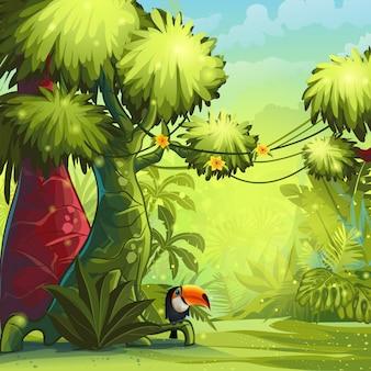 Ilustração de manhã ensolarada na selva com pássaro tucano