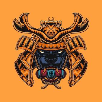 Ilustração de manto dourado de samurai