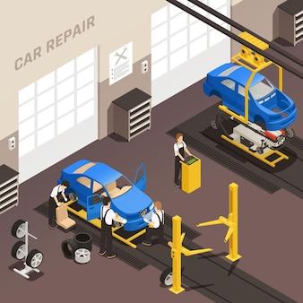 Ilustração de manutenção de conserto de carro
