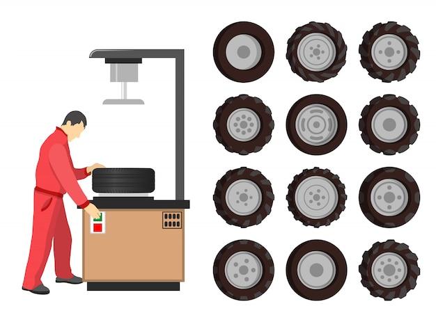 Ilustração de manutenção de serviço de pneus