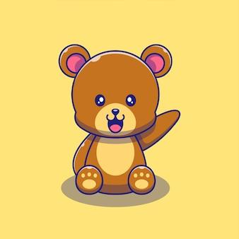 Ilustração de mão acenando urso bonito. urso mascote personagens de desenhos animados animais ícone conceito isolado.