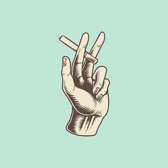 Ilustração, de, mão, com, cigarro, ícone