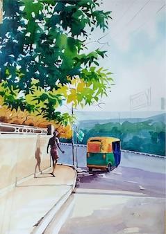 Ilustração de mão desenhada aquarela pessoa na estrada