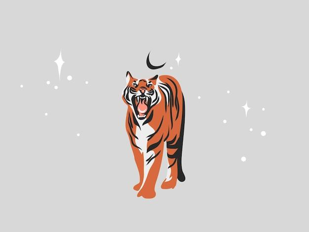 Ilustração de mão desenhada com tigre étnico tribal místico bonito na selva e estrelas mágicas em estilo simples, isolado