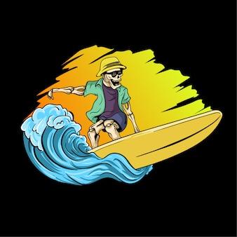 Ilustração de mão desenhada crânio surf