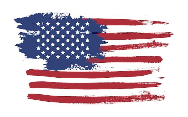 Ilustração de mão desenhada da bandeira do grunge dos eua