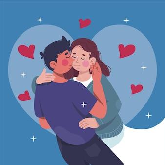 Ilustração de mão desenhada de casal se beijando