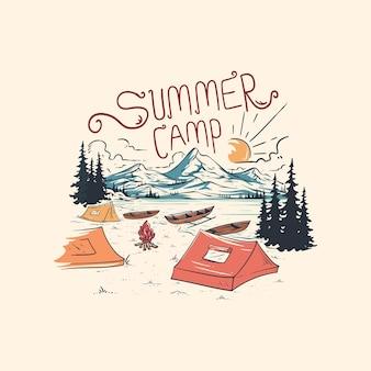 Ilustração de mão desenhada de cenário de acampamento de verão
