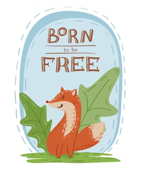 Ilustração de mão desenhada de fox vermelho selvagem bonito