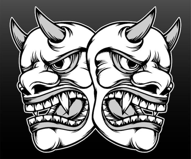 Ilustração de mão desenhada de máscara hannya monocromática