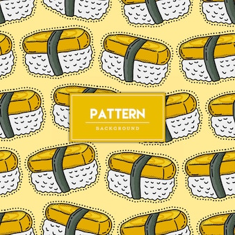 Ilustração de mão desenhada de padrão sem emenda de comida de sushi