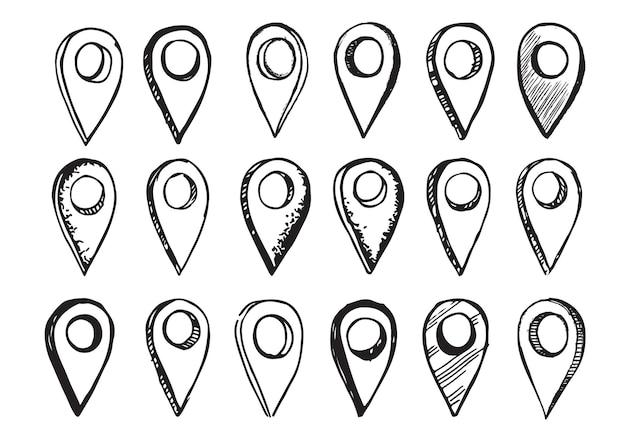 Ilustração de mão desenhada de vetor de ponteiro de mapa