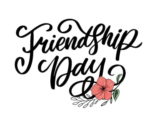 Ilustração de mão desenhada feliz dia da amizade felicitation no estilo de moda com letras texto sinal e triângulo de cor para efeito grunge no fundo branco