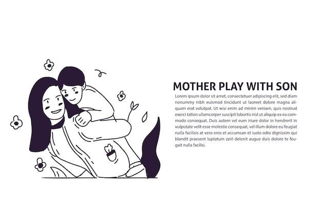 Ilustração de mão desenhada fofa de mãe e filho