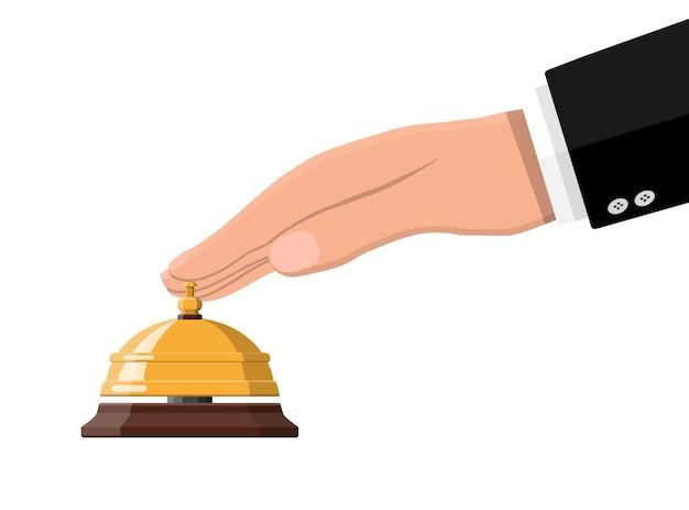 Ilustração de mão e sino de serviço dourado