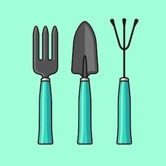 Ilustração de mão garfo e espátula