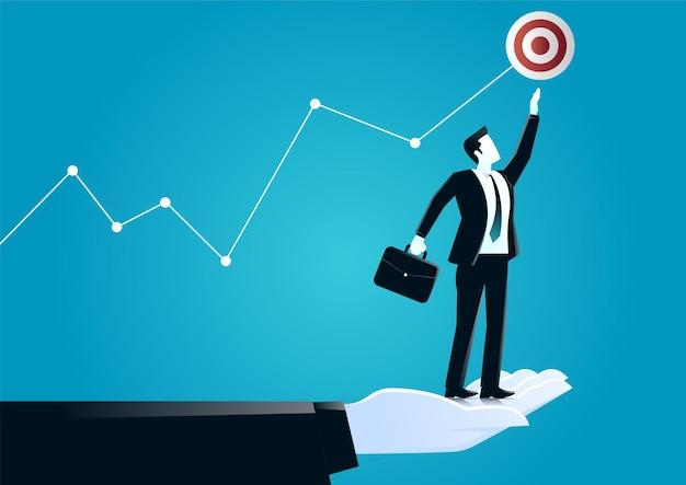 Ilustração de mão gigante ajudando um empresário a alcançar a meta. descreva o desafio e o negócio-alvo.