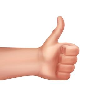 Ilustração de mão humana gesto de polegar para cima