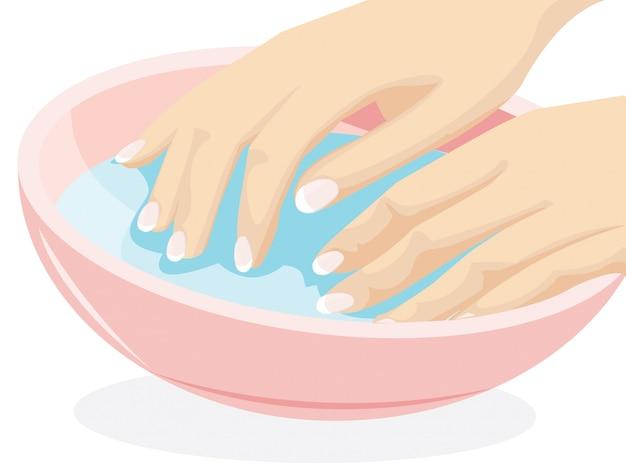 Ilustração, de, mão, lavando, mulher, vetorial