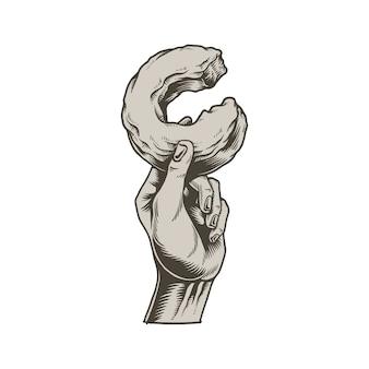 Ilustração de mão segurando o ícone de donut mordido