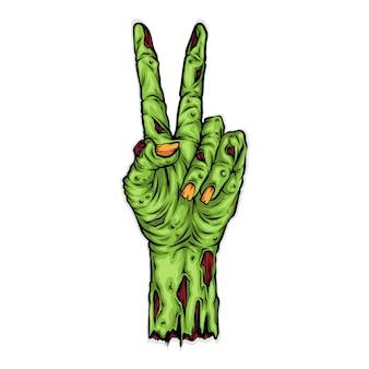 Ilustração de mão zumbi no signo da paz