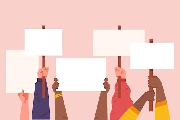 Ilustração de mãos com cartazes