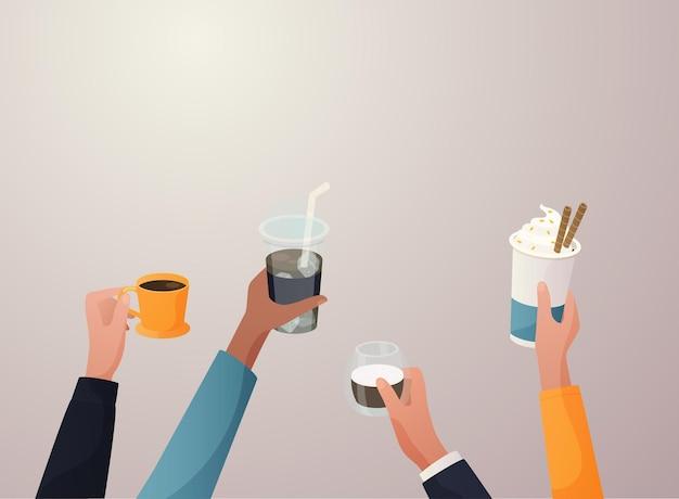 Ilustração de mãos com xícaras de café