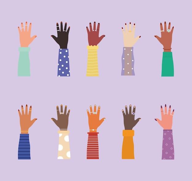Ilustração de mãos da diversidade com unhas coloridas