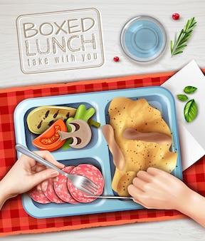 Ilustração de mãos de almoço em caixa
