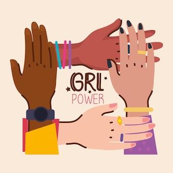 Ilustração de mãos de diversidade e letras do poder feminino