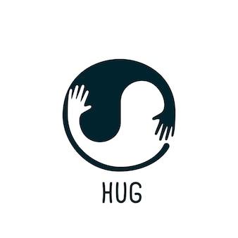 Ilustração de mãos e abraços em forma de círculo