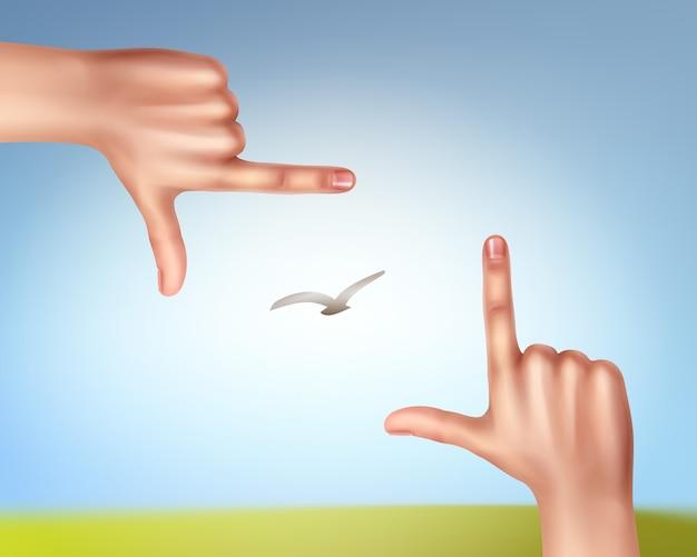 Ilustração de mãos fazendo uma moldura de pássaro no céu
