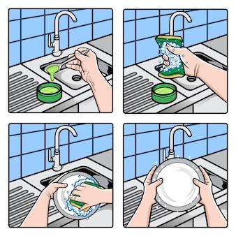 Ilustração de mãos lavando pratos com esponja e água com sabão